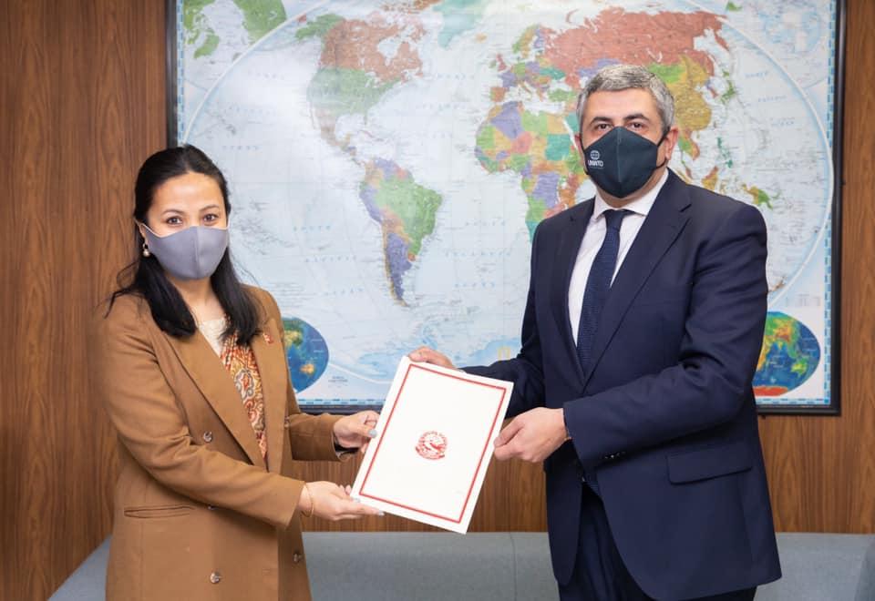 राजदूत शेर्पाद्वारा युएन डब्लुटीओका महासचिव समक्ष ओहोदाको प्रमाणपत्र पेश