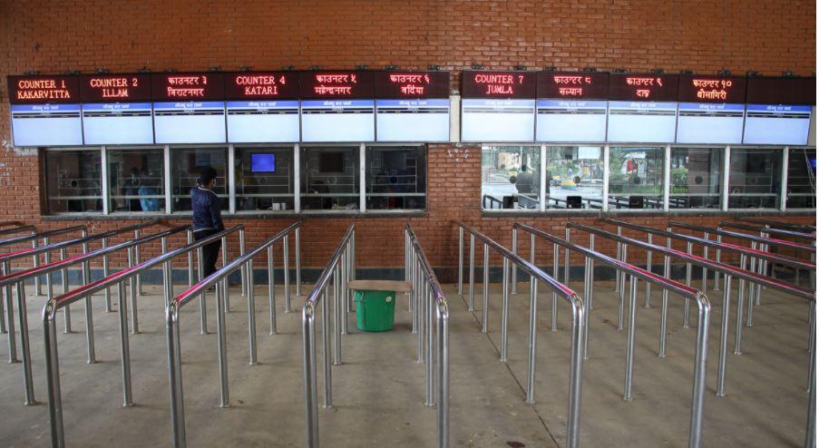 काठमाडौंस्थित नयाँ बसपार्कका टिकट काउण्टर बन्द हुने
